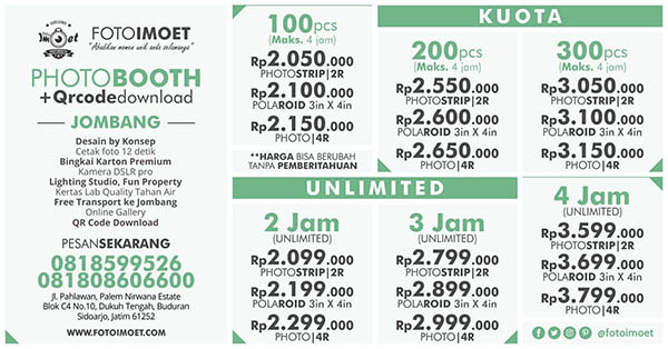 Harga Photo Booth Unlimited & Kuota Jombang Murah
